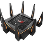 The ASUS GT-AX11000 router with Gigabit WiFi, 4 N/A ETH-ports and                                                  0 USB-ports