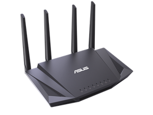 Thumbnail for the ASUS RT-AX58U router with Gigabit WiFi, 4 N/A ETH-ports and                                          0 USB-ports