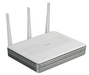 Thumbnail for the ASUS WL-566gM router with 54mbps WiFi, 4 100mbps ETH-ports and                                          0 USB-ports