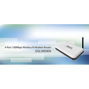 Thumbnail for the Aztech DSL5005EN router with 300mbps WiFi, 4 100mbps ETH-ports and                                          0 USB-ports
