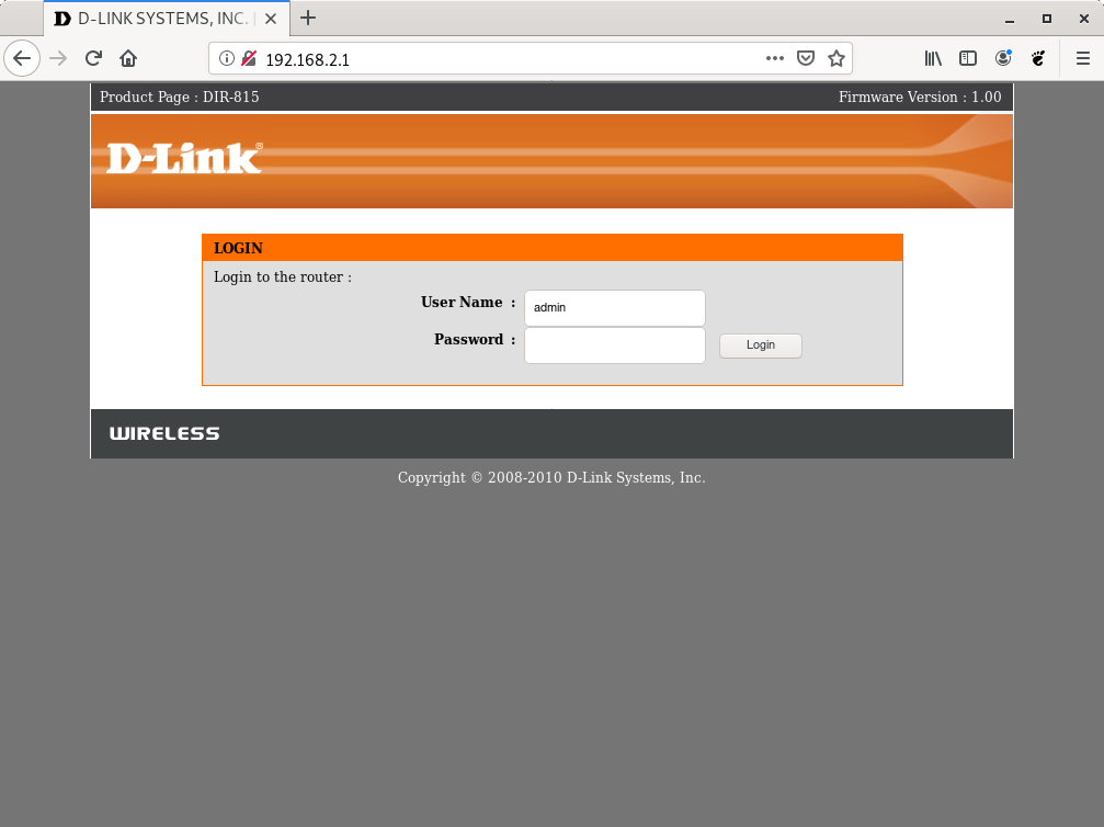 D-Link router web interface login screen
