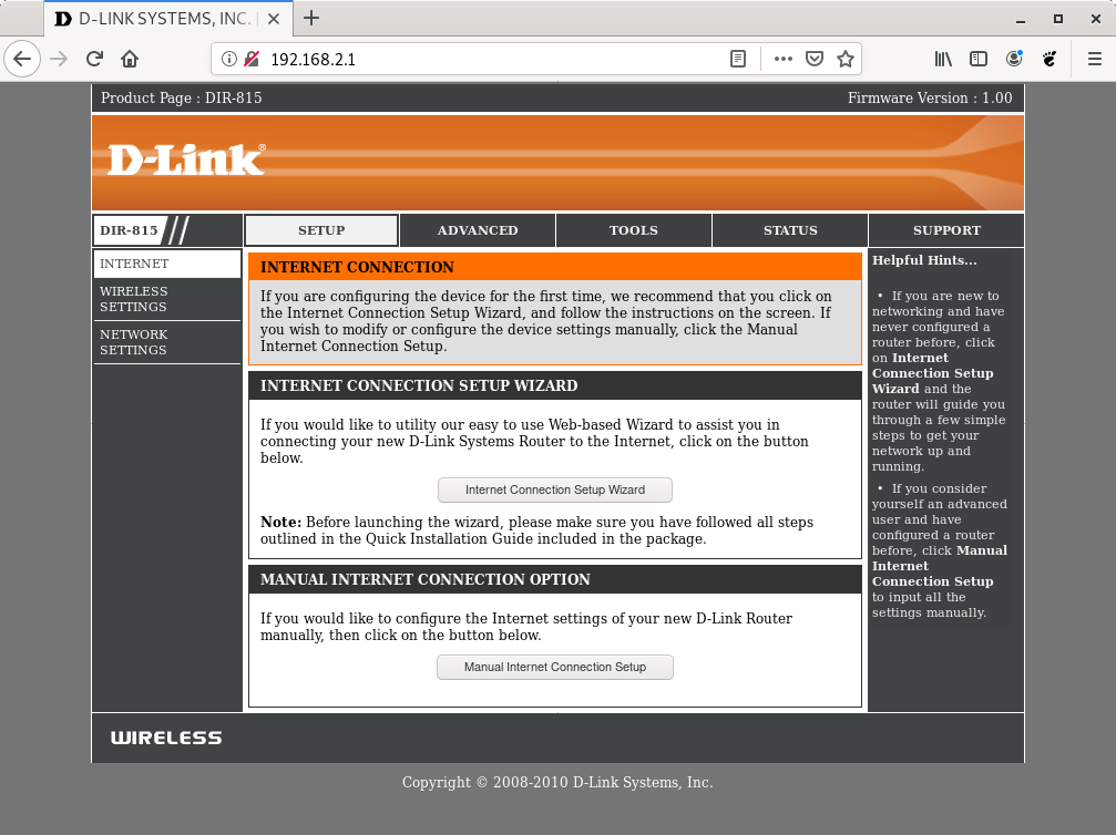 D-Link router web interface