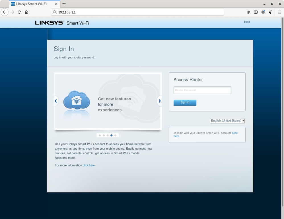Linksys router web interface login screen