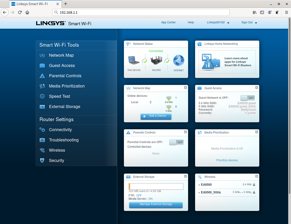 Linksys router web interface