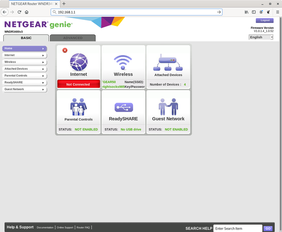 Netgear router web interface