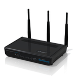 The Hawking HD45R router with 300mbps WiFi, 4 Gigabit ETH-ports and                                                  0 USB-ports