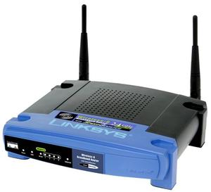 Thumbnail for the Linksys WRT54G v1.1 router with 54mbps WiFi, 4 100mbps ETH-ports and                                          0 USB-ports
