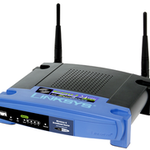 The Linksys WRT54G v4 router with Gigabit WiFi, 4 100mbps ETH-ports and                                              0 USB-ports