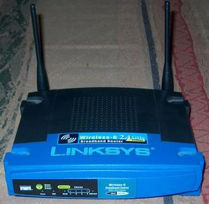 Thumbnail for the Linksys WRT54G v8.2 router with 54mbps WiFi, 4 100mbps ETH-ports and                                          0 USB-ports
