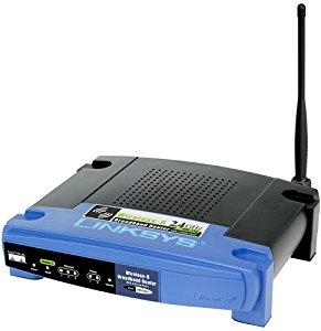 Thumbnail for the Linksys WRT54GP2 router with 54mbps WiFi, 3 100mbps ETH-ports and                                          0 USB-ports