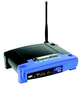 Thumbnail for the Linksys WRT54GP2A-AT router with 54mbps WiFi, 4 100mbps ETH-ports and                                          0 USB-ports