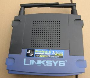 Thumbnail for the Linksys WRT54GS v3 router with 54mbps WiFi, 4 100mbps ETH-ports and                                          0 USB-ports