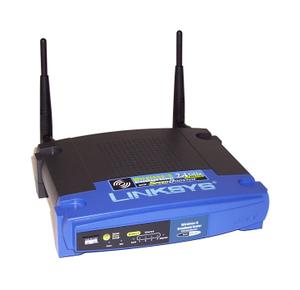 Thumbnail for the Linksys WRT54GS v4 router with 54mbps WiFi, 4 100mbps ETH-ports and                                          0 USB-ports
