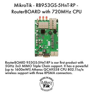 Thumbnail for the MikroTik RouterBOARD 953GS-5HnT (RB953GS-5HnT) router with 11mbps WiFi, 3 Gigabit ETH-ports and                                          0 USB-ports
