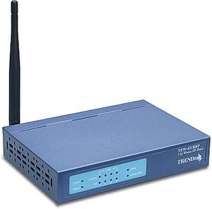 Thumbnail for the TRENDnet TEW-431BRP router with 54mbps WiFi, 4 100mbps ETH-ports and                                          0 USB-ports