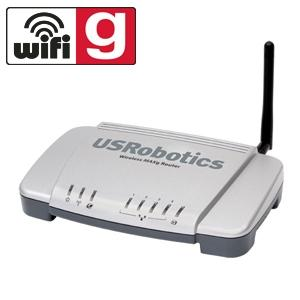 Thumbnail for the USRobotics USR5465 router with 54mbps WiFi, 4 100mbps ETH-ports and                                          0 USB-ports