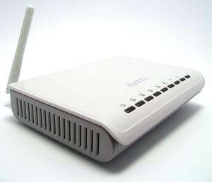 Thumbnail for the ZyXEL NBG334W router with 54mbps WiFi, 4 100mbps ETH-ports and                                          0 USB-ports