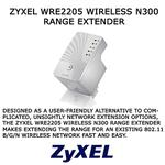 The ZyXEL WRE2205 router with 300mbps WiFi, 1 100mbps ETH-ports and                                                  0 USB-ports