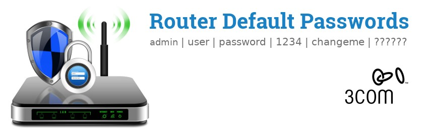 Image of a 3Com router with 'Router Default Passwords' text and the 3Com logo
