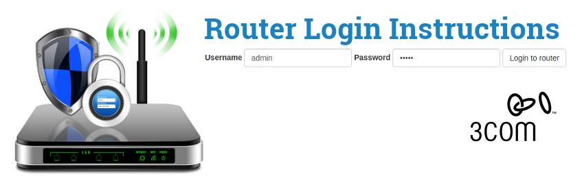 Image of a router with a login password lock and the 3Com logo