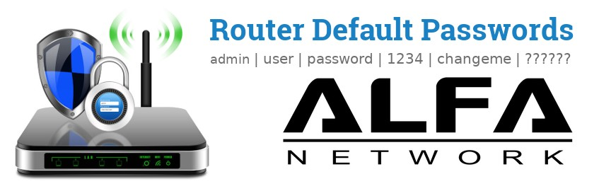 Image of a ALFA Network router with 'Router Default Passwords' text and the ALFA Network logo