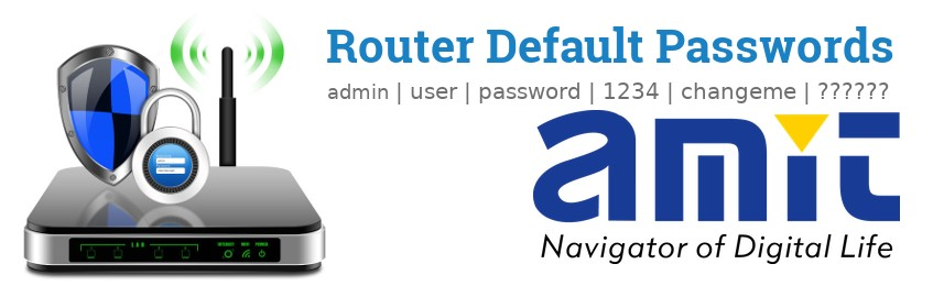 Image of a AMIT router with 'Router Default Passwords' text and the AMIT logo