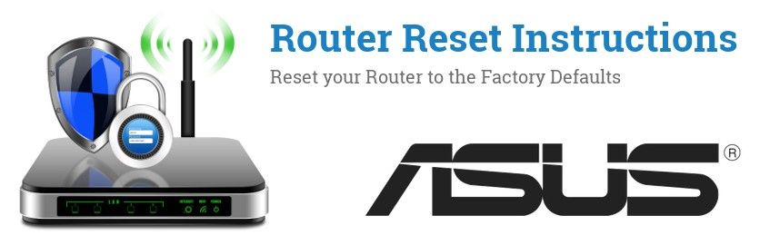 Image of a ASUS router with 'Router Reset Instructions'-text and the ASUS logo
