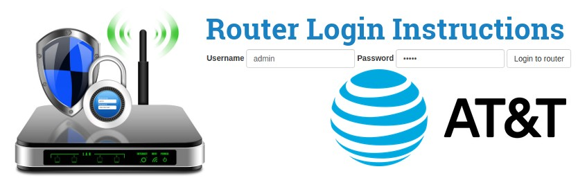 Image of a router with a login password lock and the AT&T logo