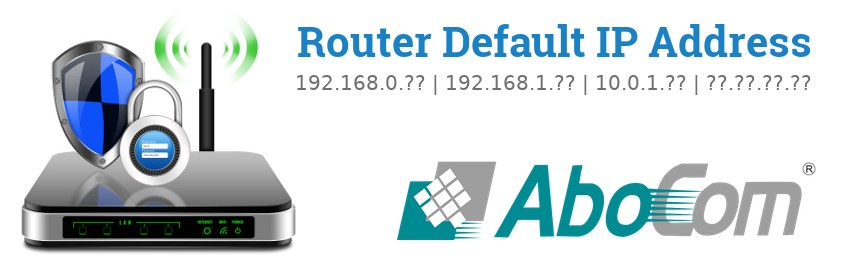 Image of a AboCom router with 'Router Default IP Addresses' text and the AboCom logo