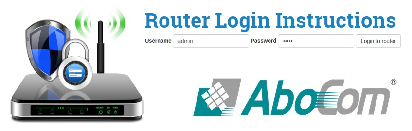 Image of a router with a login password lock and the AboCom logo