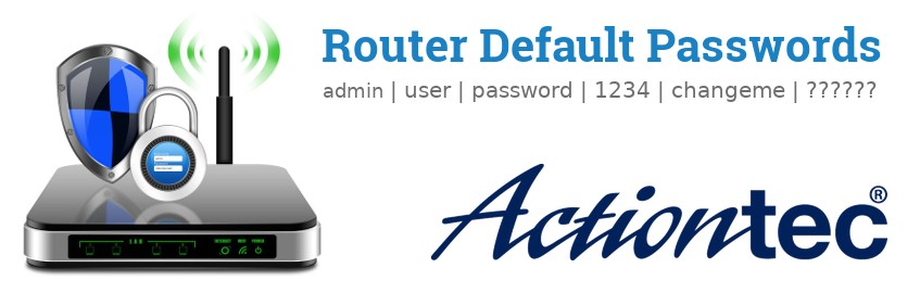 Image of a Actiontec router with 'Router Default Passwords' text and the Actiontec logo