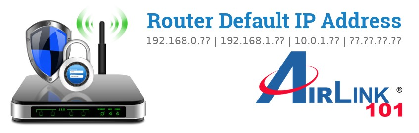 Image of a Airlink101 router with 'Router Default IP Addresses' text and the Airlink101 logo