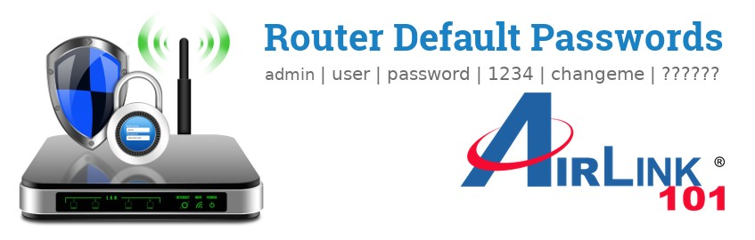 Image of a Airlink101 router with 'Router Default Passwords' text and the Airlink101 logo