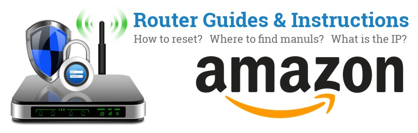 Image of a Amazon router with 'Router Reset Instructions'-text and the Amazon logo