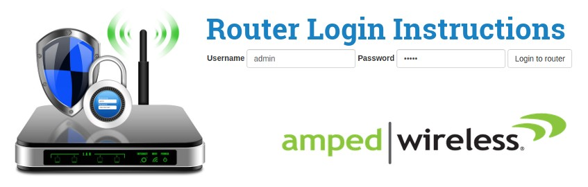 Image of a router with a login password lock and the Amped Wireless logo