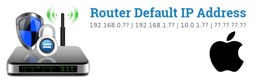 Image of a Apple router with 'Router Default IP Addresses' text and the Apple logo
