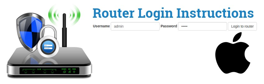 Image of a router with a login password lock and the Apple logo