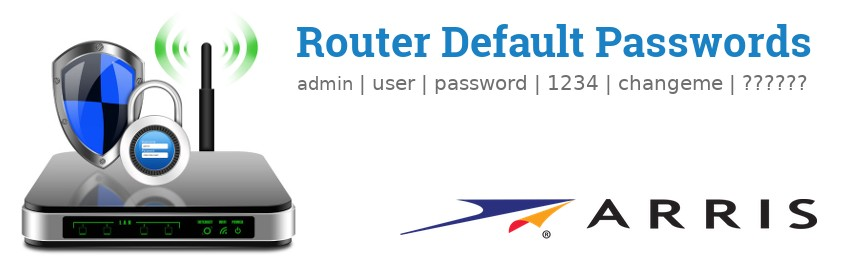 Image of a Arris router with 'Router Default Passwords' text and the Arris logo