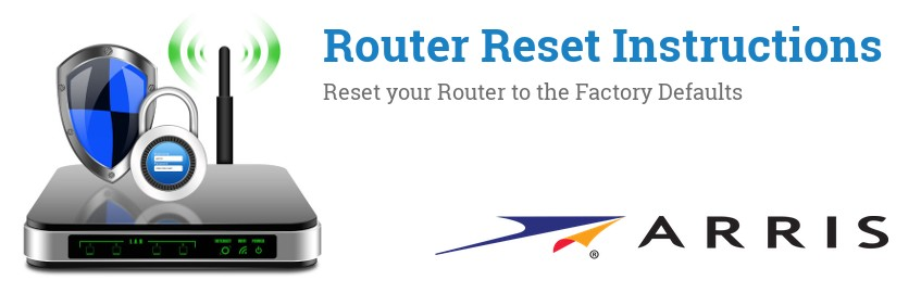 Image of a Arris router with 'Router Reset Instructions'-text and the Arris logo