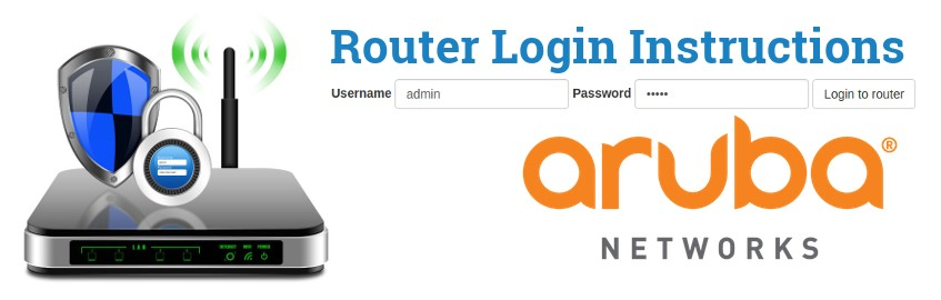 Image of a router with a login password lock and the Aruba Networks logo