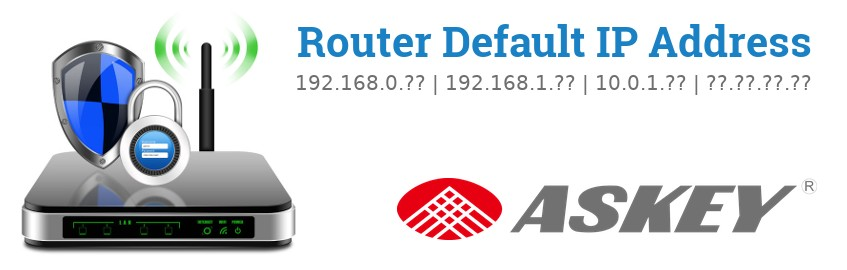 Image of a Askey router with 'Router Default IP Addresses' text and the Askey logo