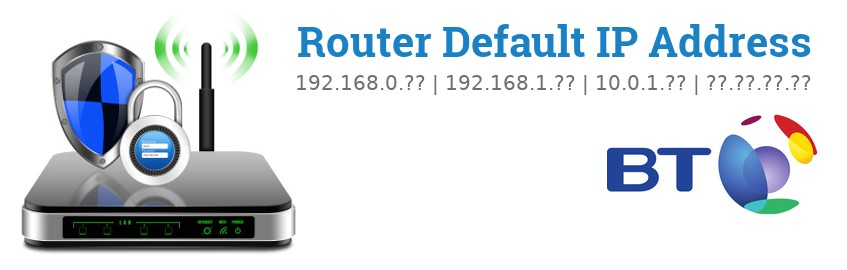 Image of a BT router with 'Router Default IP Addresses' text and the BT logo