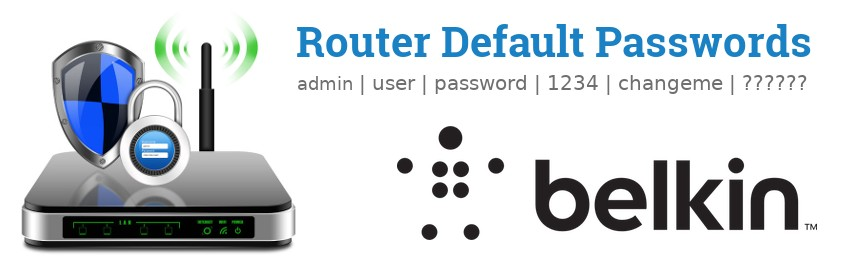 Image of a Belkin router with 'Router Default Passwords' text and the Belkin logo