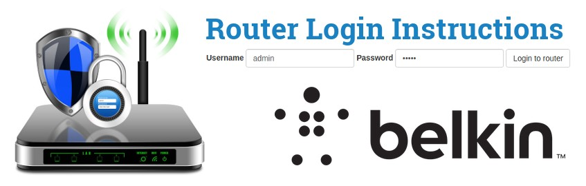 Image of a router with a login password lock and the Belkin logo