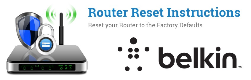 Image of a Belkin router with 'Router Reset Instructions'-text and the Belkin logo