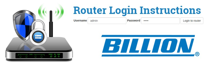 Image of a router with a login password lock and the Billion logo
