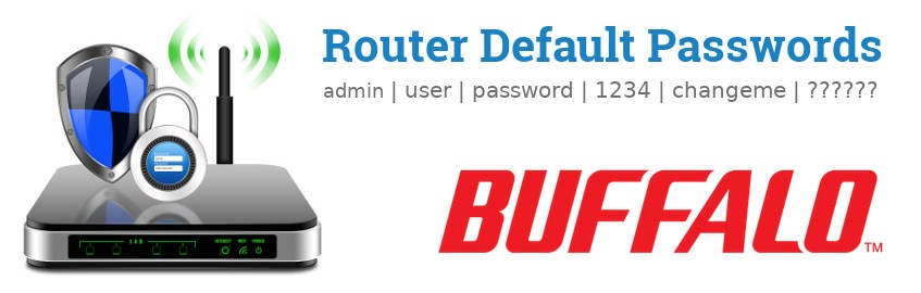 Image of a Buffalo router with 'Router Default Passwords' text and the Buffalo logo