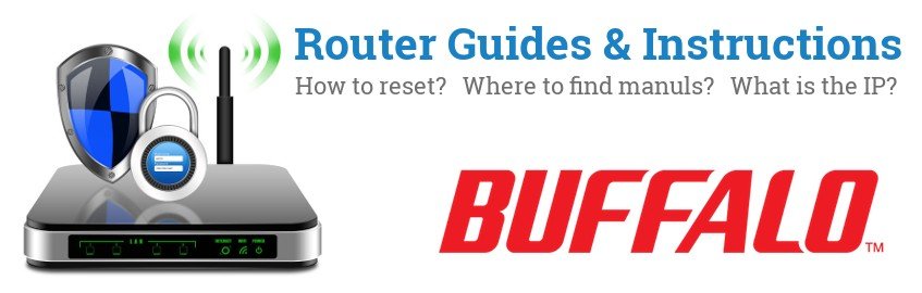 Image of a Buffalo router with 'Router Reset Instructions'-text and the Buffalo logo