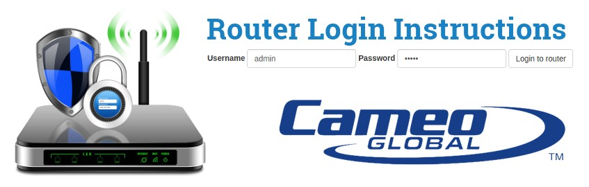Image of a router with a login password lock and the Cameo logo