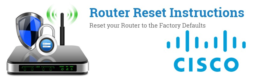 Image of a Cisco router with 'Router Reset Instructions'-text and the Cisco logo